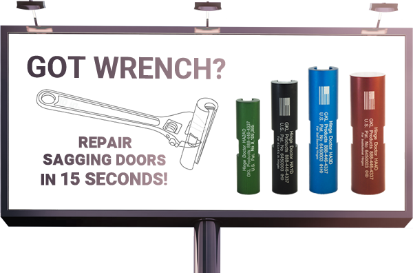 GOT WRENCH? Repair Sagging Doors in fifteen seconds